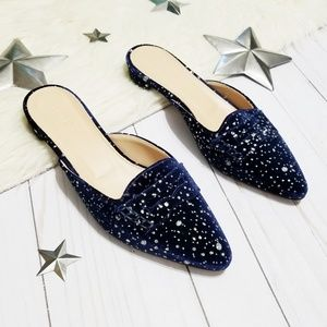J. Crew navy velvet glitter speckled mule loafers